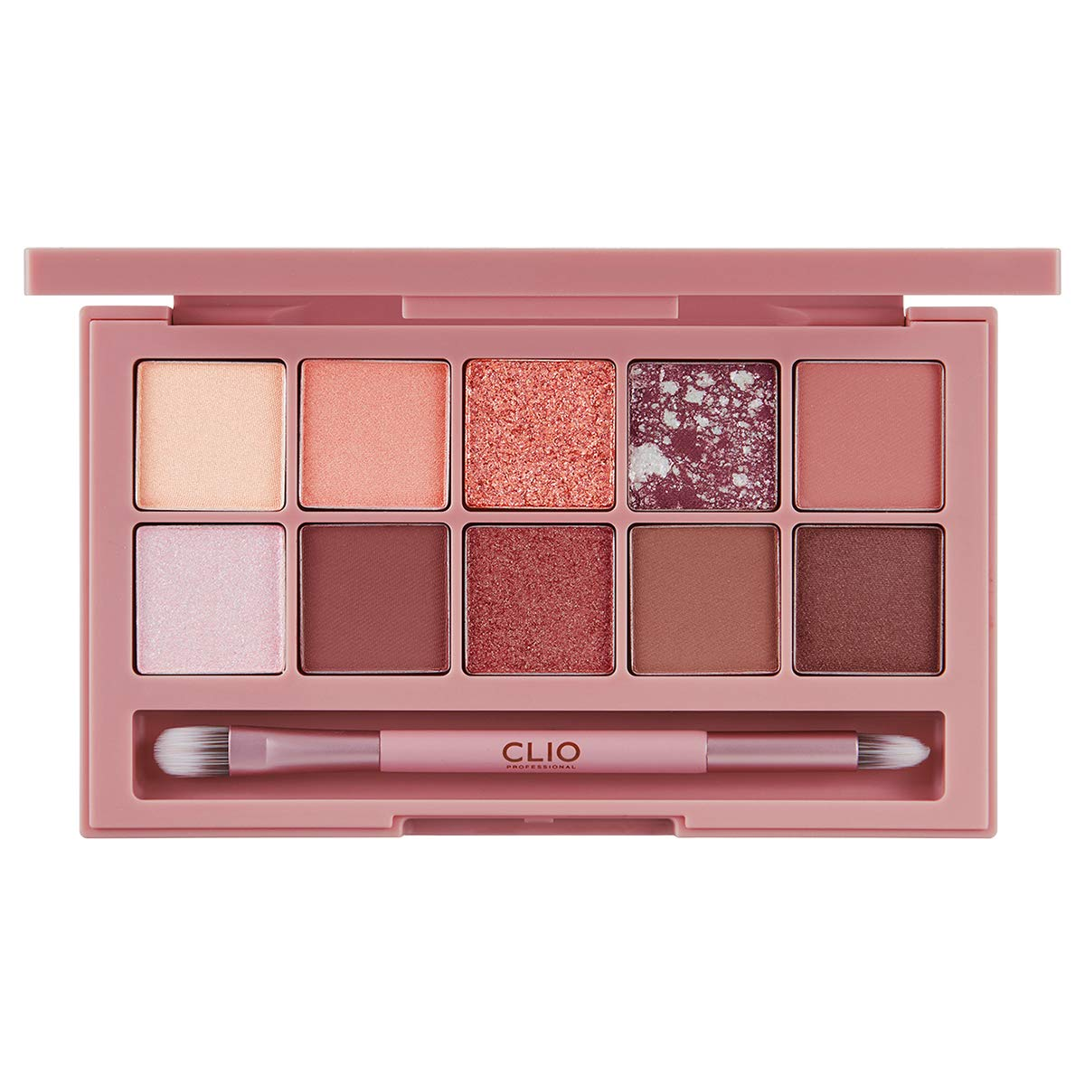 CLIO Pro Eye Shadow Palette | Matte, Shimmer, Glitter, Pearls, Highly Pigments, Long-Wearing | Rusted Rose (#05)