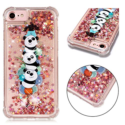 iPhone 6S/6 Case, iPhone 7 Case, iPhone 8 Case, Dooge [Cartoon Pattern] Shockproof Anti-Scratch Glitter Liquid Sparkle Floating Bling Waterfall Fusion Protective TPU Bumper Case for iPhone ()