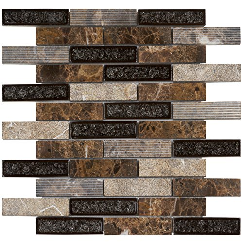 Modket TDH46MO Brown Emperador Dark Marble Mosaic Tile, Crackle Glass Blended Brick Joint Pattern Backsplash