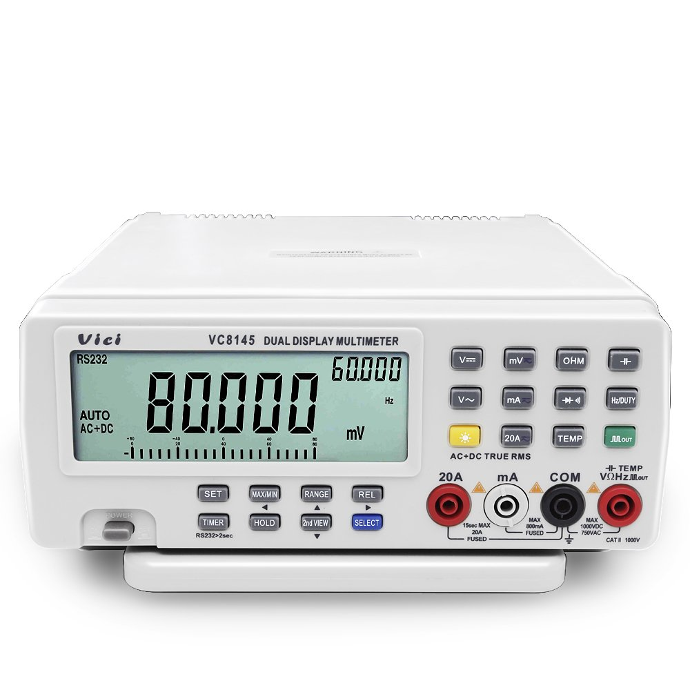 Flexzion Digital Multimeter Benchtop DMM Multi Meter Tester PC True RMS High Precision Auto Ranging with Dual Display DC AC Ohm Temp Voltmeter Measure Function, Analog 80000 Counts Bar Graph VC8145