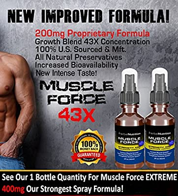 #1 Rated MUSCLE FORCE Strength and Endurance Spray!|200mg Proprietary Growth Formula|Improve Strength and Recovery