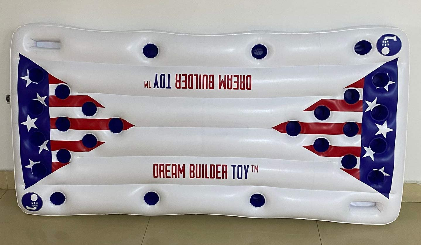 Dreambuilder Toy Inflatable Pool Party Barge Floating Beer Pong Float, White, 6-Feet, - Floating Pool Party Game Raft and Lounge(Beer Pong)