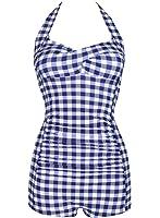 Kiddom Blue Lattice Conservative Swimsuit Ruched Halter Slim One Piece Swimwear