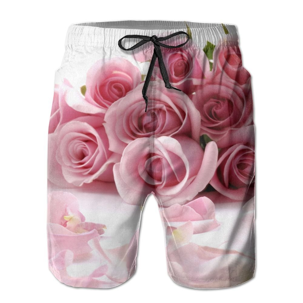 SmallHan Mens Bouquet Of Beautiful Flowers With Petals White Swimming Swim Trunks Adjustable Beach Shorts With Pockets