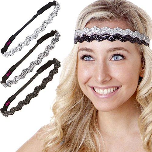 Hipsy Womens Adjustable Cute Fashion Headbands Hairband Gift Pack (3pk Black/Gunmetal/Silver Wave Bling Glitter)