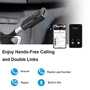 Areson Bluetooth Receiver, 7 Hours Mini Bluetooth Car Aux Adapter Receiver Support TF Card & 3.5mm Wireless Hands-Free Car Kits Music Adapter for Home Audio/Car Stereo System (Black) (Color: black)