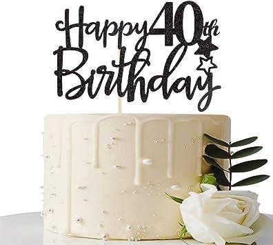 Amazon.com: Decoración para tarta de 40 cumpleaños, color ...