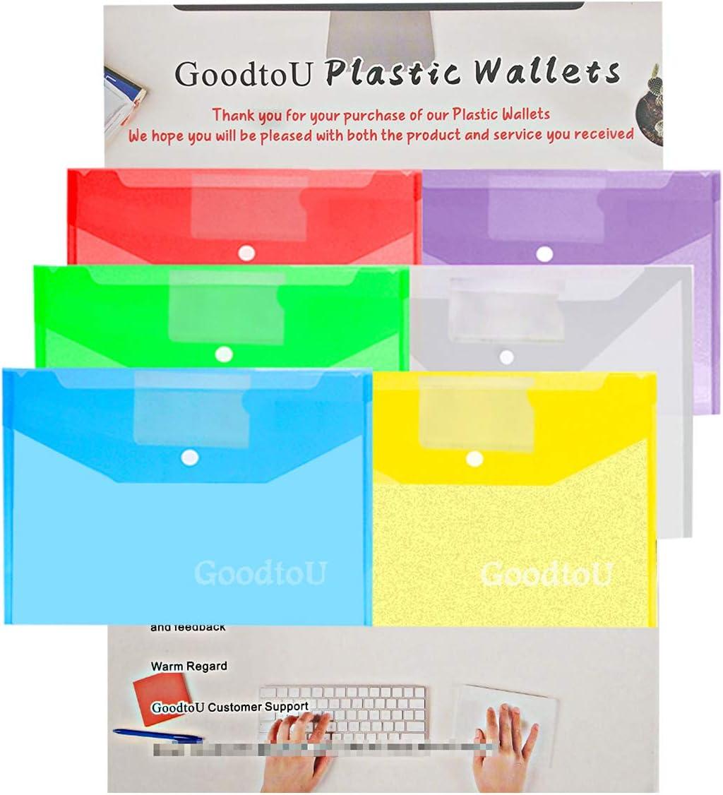 Portadocumenti Trasparente A4-12 Pz Portadocumenti di Plastica Cartellette Portadocumenti Cartelline con Bottone