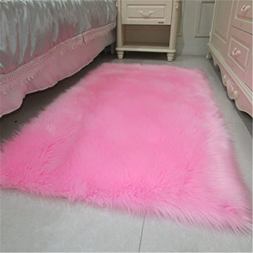 Soft Faux Sheepskin Rug Mat Carpet Pad Anti-Slip Chair Sofa Cover for Bedroom Home Decor Rugs for Bedroom Faux Fur Rug,6.6 x 6.6 ,Hot Pink
