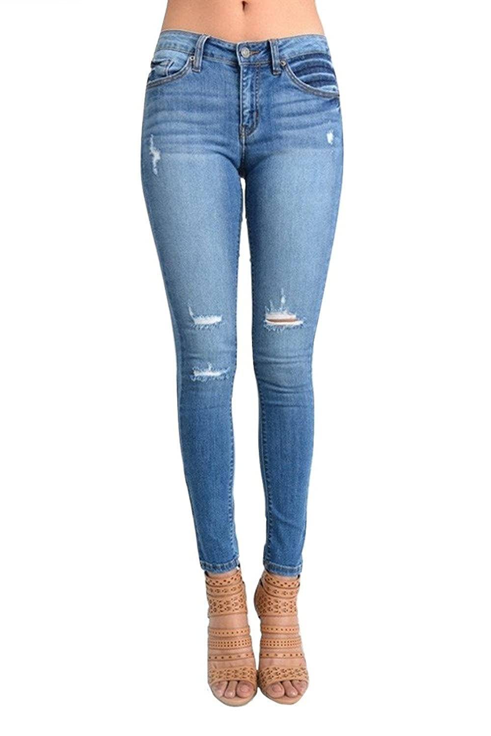 Kan Can Women's Destroyed Skinny Jeans