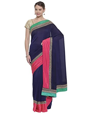 35f0ee2361 Classicate From The House Of The Chennai Silks - Embroidered Georgette Saree  - Astral Aura Navy Blue - (CCMYFS7613): Amazon.in: Clothing & Accessories