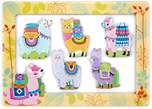 Llama Magnets for Fridge Refrigerator, 6pcs Refrigerator Magnets and 4 x 6 Inches Magnetic Photo Frame Lockers Whiteboard Decorative Cute Gifts