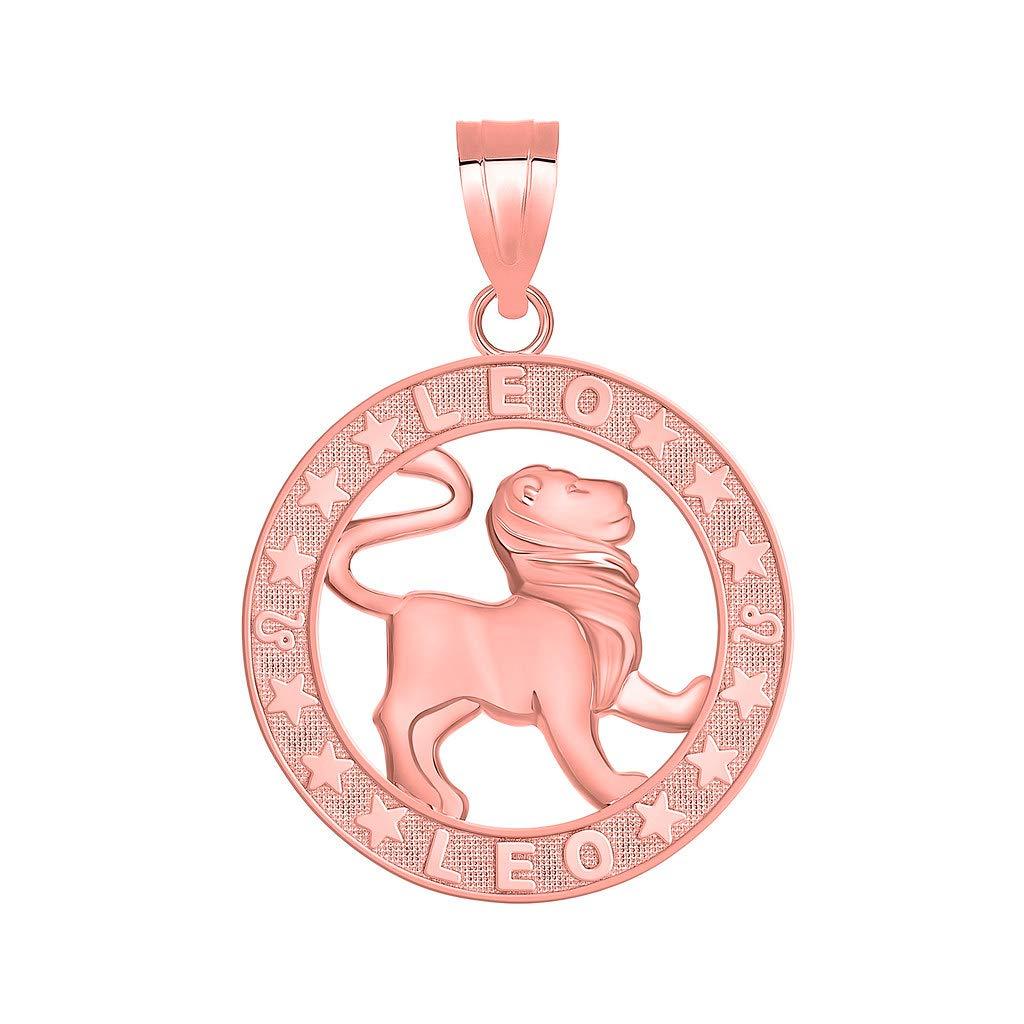 14k Rose Gold Zodiac Sun Sign Symbol Pendant