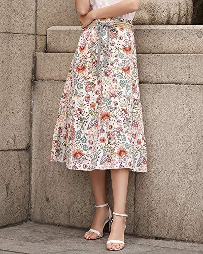 Longues Taille Femme Orange Plisse Jupe Haute 1 Shaoyao Maxi Jupes 4qHEtT