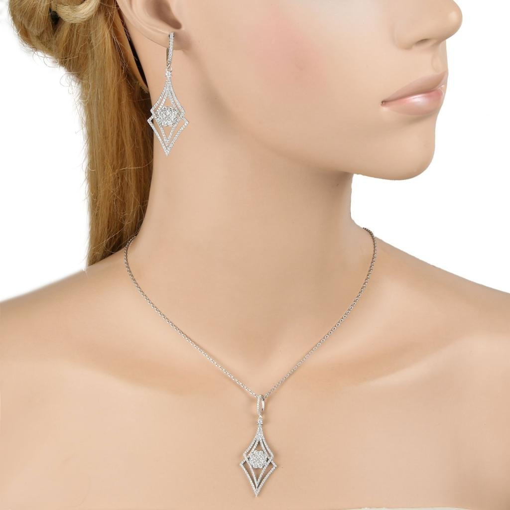 EVER FAITH Silver-Tone Zircon Elegant Double Rhombus Shaped Pendant Necklace Earrings Set Clear by EVER FAITH (Image #2)