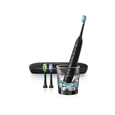 Philips Sonicare DiamondClean Smart 9300 Electric Rechargeable Power Toothbrush, For Complete Oral Care, includes 3 brush heads, glass charger and travel case, Black