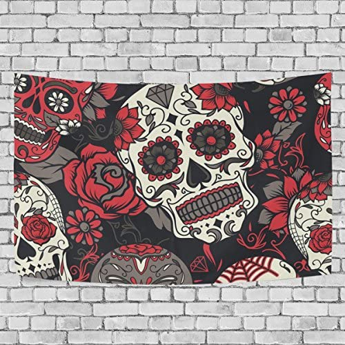 JSTEL Colorful Sugar Skull with Floral Tapestry Wall Hanging Decoration for Apartment Home Decor Living Room Table Throw Bedspread Dorm 90 x 60 inches