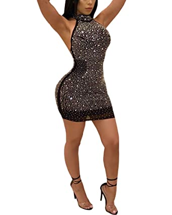 d986305467b Aro Lora Women's Sexy Sequin Studded High Neck Backless Bodycon Mini Club  Dress Small Black