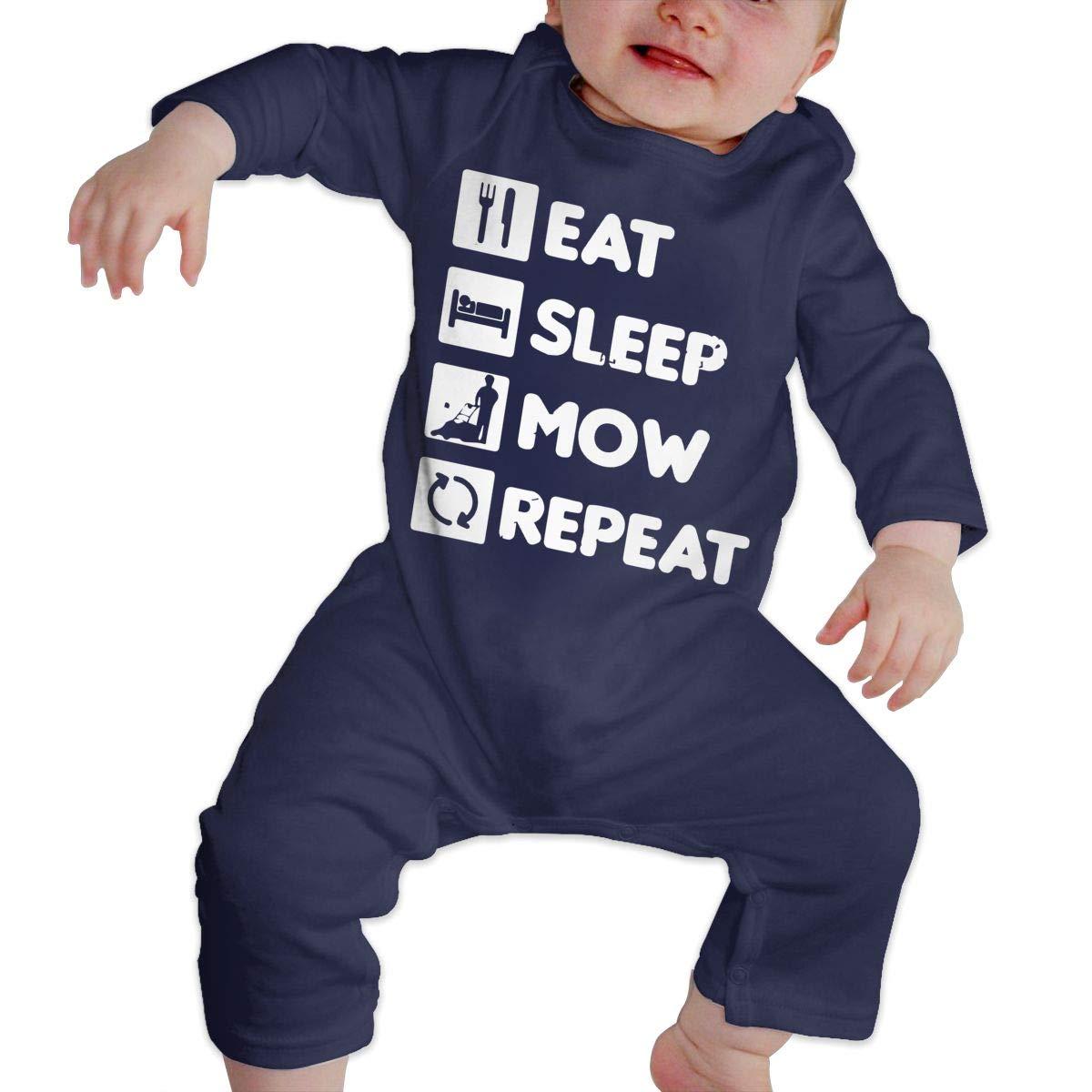 LBJQ8 Eat Sleep Mow Repeat Toddler Baby Girls Long Sleeve Romper Jumpsuit Bodysuit