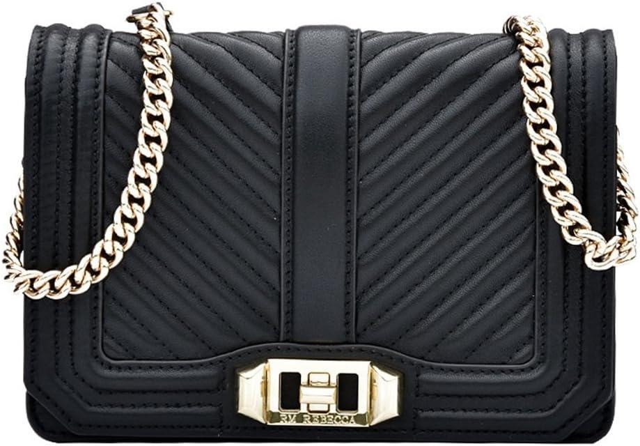 Color : Black Sunmiao Simple Retro Buckle Chain Straps Square Leather Shoulder Bag Messenger Bag