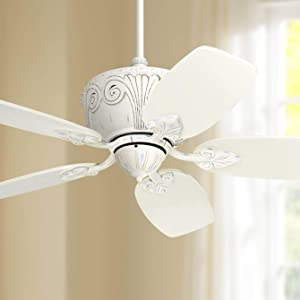 "44"" Casa Deville Shabby Chic Ceiling Fan Antique Rubbed White for Living Room Kitchen Bedroom Family Dining - Casa Vieja"