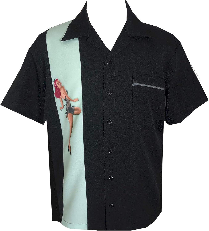 BeRetro Pinup Girl Men's Bowling Lounge Retro Shirt Mint Pinup Girl