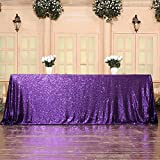 3E Home Sequin Tablecloth Cover for Dinner Wedding Birthday Party Reception Table Decor - Purple, 90x132