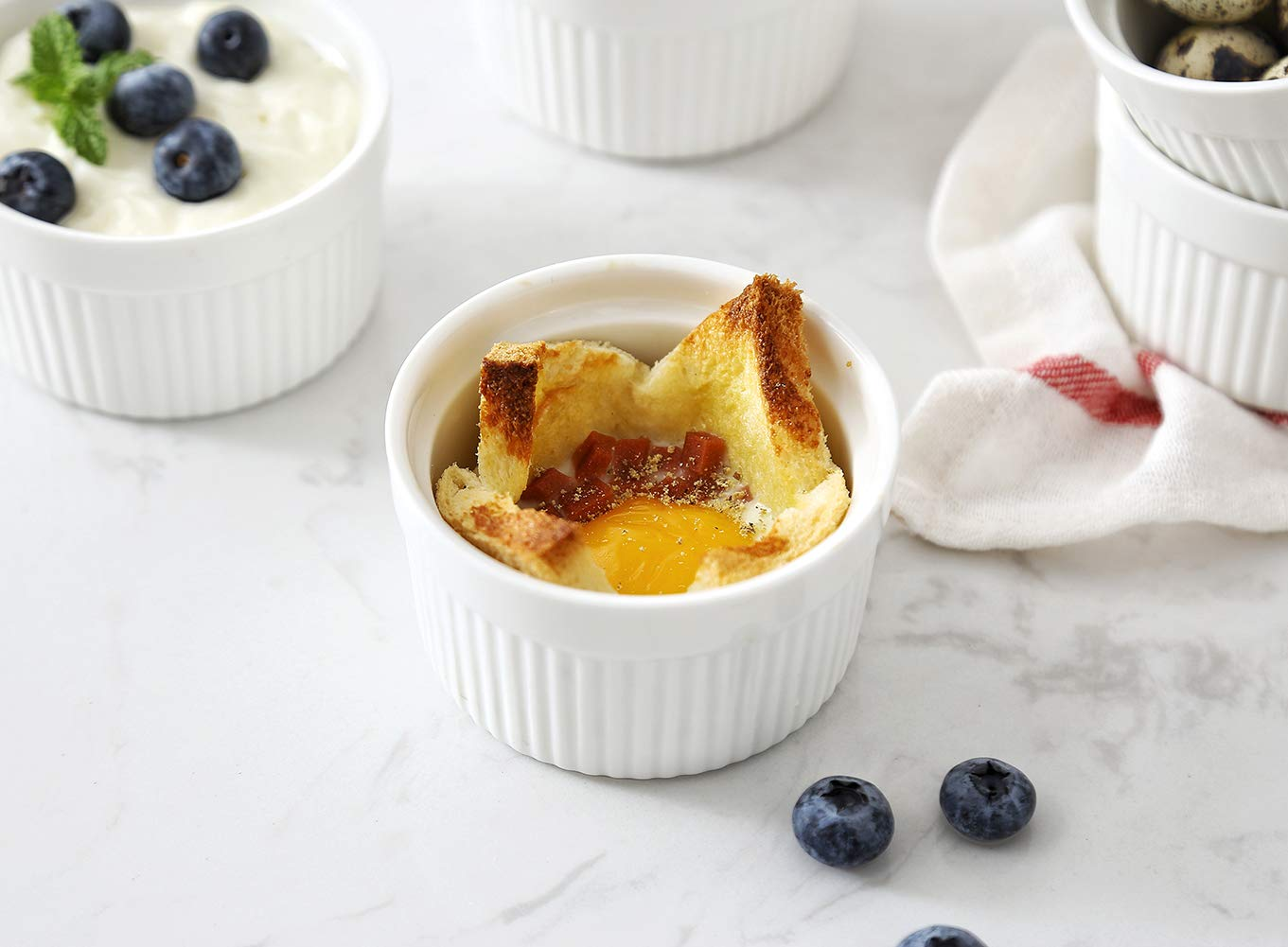 6 oz Ramekin Set of 8 Serving Bowl for Souffle Creme Brulee and Dipping Sauces Porcelain White by LAUCHUH (Image #2)