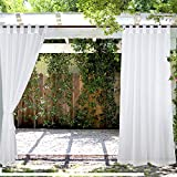 PRAVIVE Outdoor Sheer Curtains 84 - Waterproof Tab Top Indoor Outdoor Curtains Patio Privacy White Sheer Drapes Blinds for Porch/Deck/Pergola with 2 Tiebacks, W54 x L84 Inches, 2 Panels