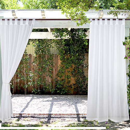 PRAVIVE Outdoor Sheer Curtains 84 - Waterproof Tab Top Indoor Outdoor Curtain Panel Patio Privacy Sheer Drapes Blinds for Porch/Deck/Pergola, White, W54 x L84 Inches, Set of 2