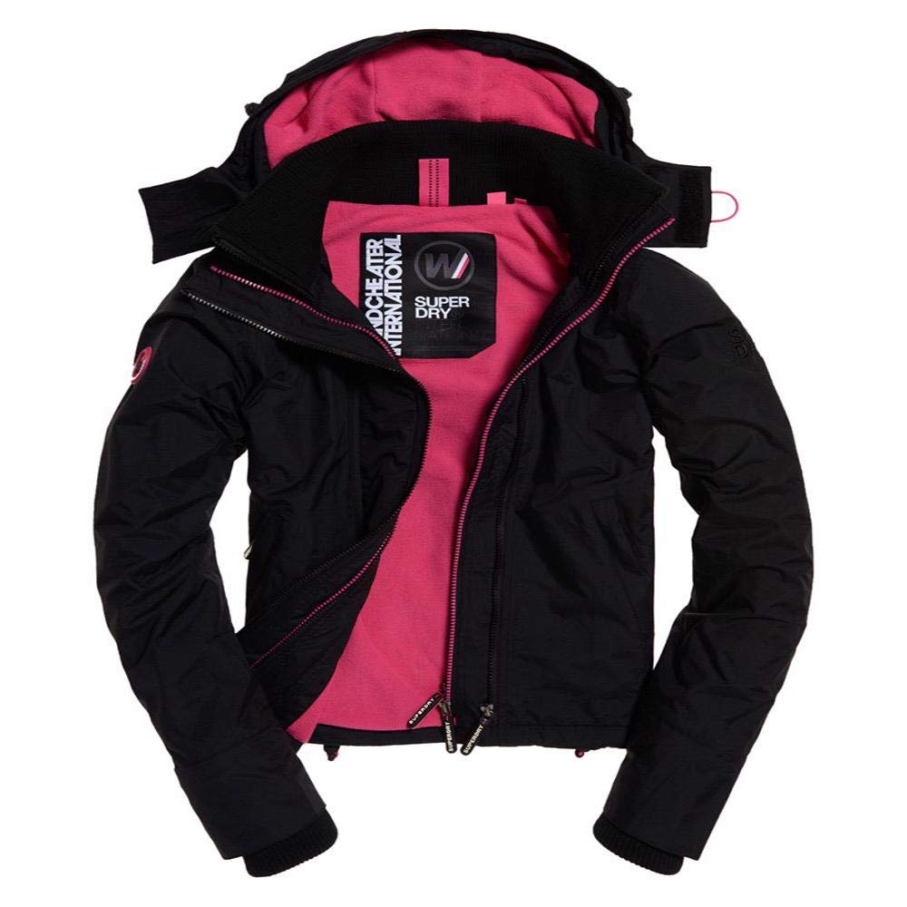 Superdry Women's UK Sizing Arctic Hooded POP Zip UP Fleece Lined Multi Pocket SD-Windcheater Jacket, Black/Raspberry, 12 by Superdry
