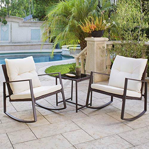 (Solaura Outdoor Furniture 3-Piece Bistro Set Brown Wicker Patio Rocking Chairs with Beige Cushions & Glass Coffee Table)