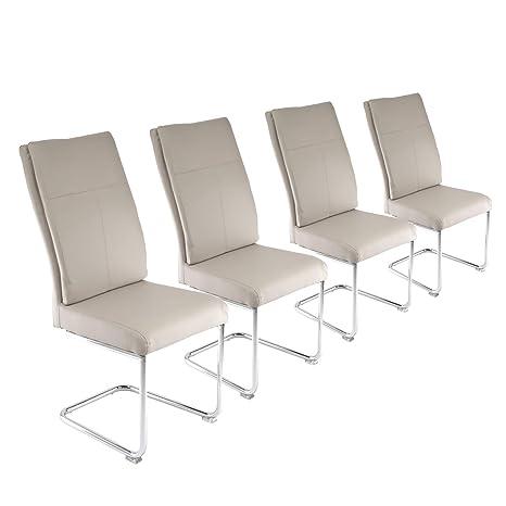 Esszimmerstühle Wonzimmerstühle Stühle Chromgestell Kunstleder Beige