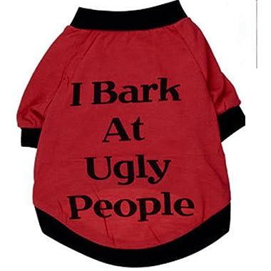 Pet Shirt Daoroka Small Large Dog Cat Costume Puppy Vest Summer Letter Sweatshirt Girl Boy Pet Clothes Fashion Apparel (M, Red)