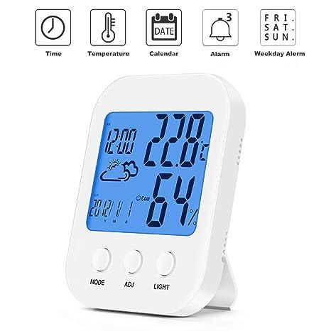 Maison Lumineux Thermomètre Électronique D\'intérieur Haute Précision Bébé  Chambre Température Et Humidité Mètre Innovant Rétro-Éclairage Alarme