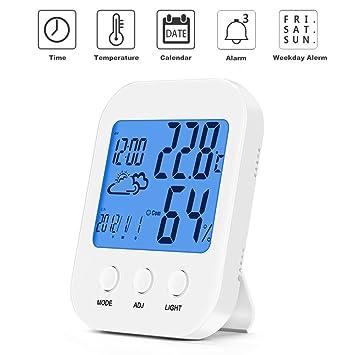 Starter Termómetro Higrometro Digital, Medidor de Humedad con LCD Táctil Colorida Patalla, Despertador Digital