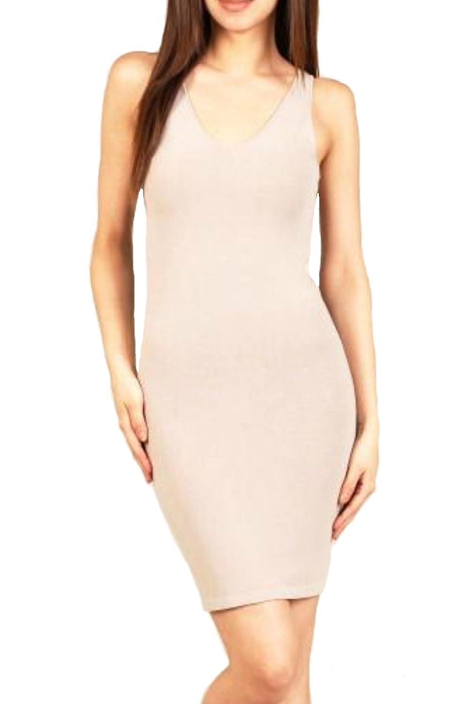 Reversible V-neck Scoop Neck Tunic Tank Dress in Soft Tan at Amazon Women s  Clothing store  f3e0c2c00
