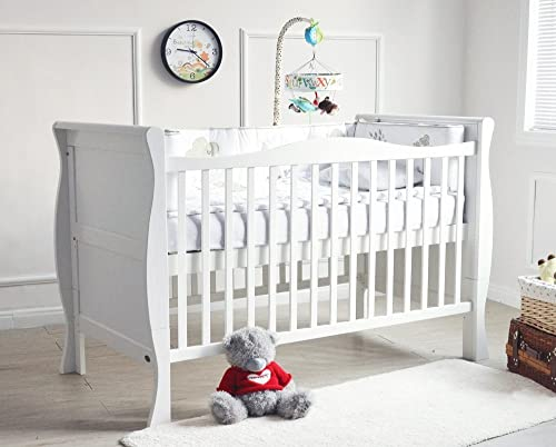 Mcc® Solid Wooden Baby Cot bed Savannah City Sleigh Cotbed Toddler Bed & Premier Water repellent Mattress Made in England 158x88cm