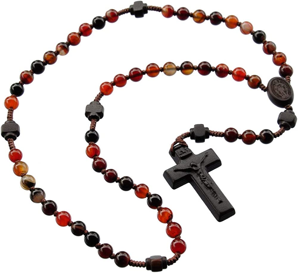 Rosary Five Decade Agate/Jujube Wood 6mm