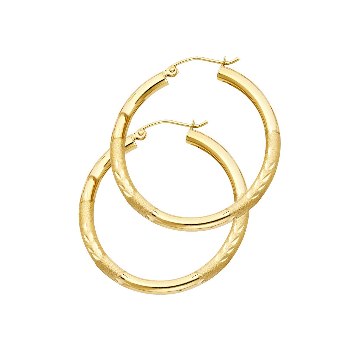 TGDJ 14k Yellow Gold 3mm Thickness Hinged Diamond Cut Hoop Earrings - (Diameter -35mm)