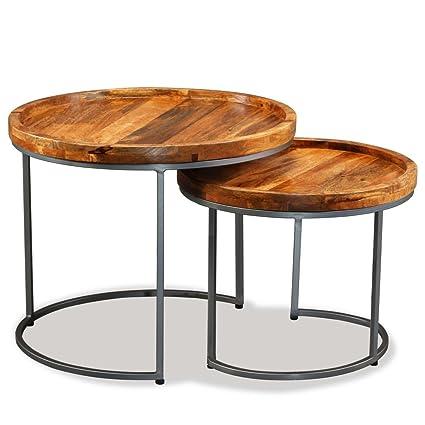 Tavolo Legno Massello E Ferro Battuto.Festnight Set 2 Tavolini Da Caffe Rotondi Industriale In