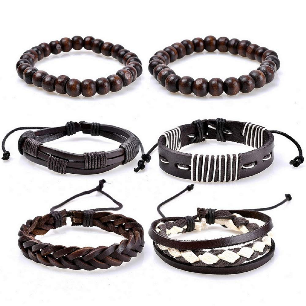 MJartoria Unisex PU Leather Charm Beaded Multi Strands Adjustable Wrap Bracelets Set of 4 XIEHOU XHAA1F9AXYXSJ1109