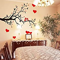 Oren Empower Decorative Branch With Red Hearts Wall Sticker (Finished Size On Wall - 85(W) X 60(H) Cm)