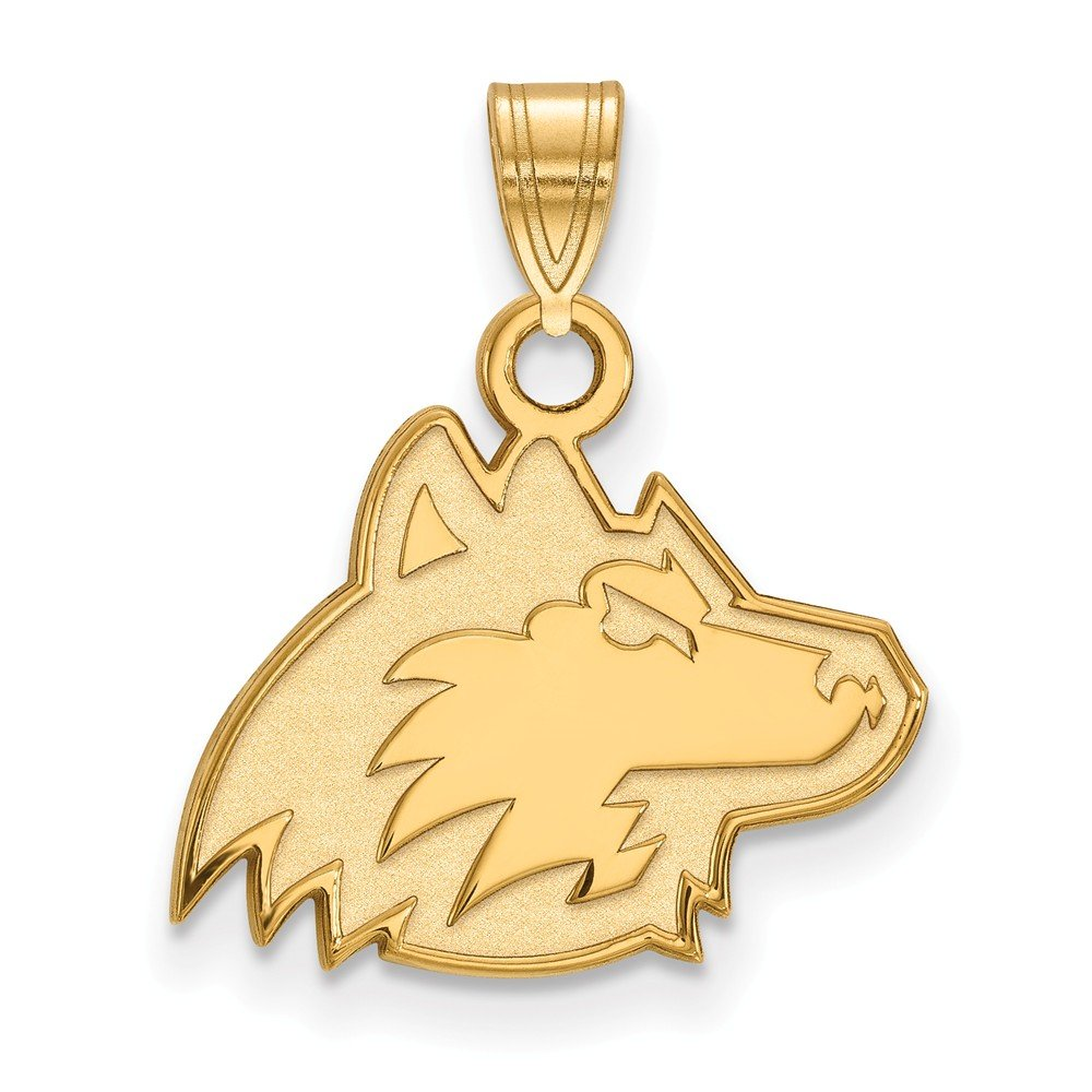 Solid 925 Sterling Silver with Gold-Toned Northern Illinois University Small Pendant 16mm x 19mm