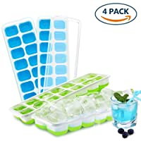 Ice Cube Tray with Lid, Invool BPA Free Silicone Easy Release Ice Cube Moulds for Drinks Waters Wines (4-Pack)
