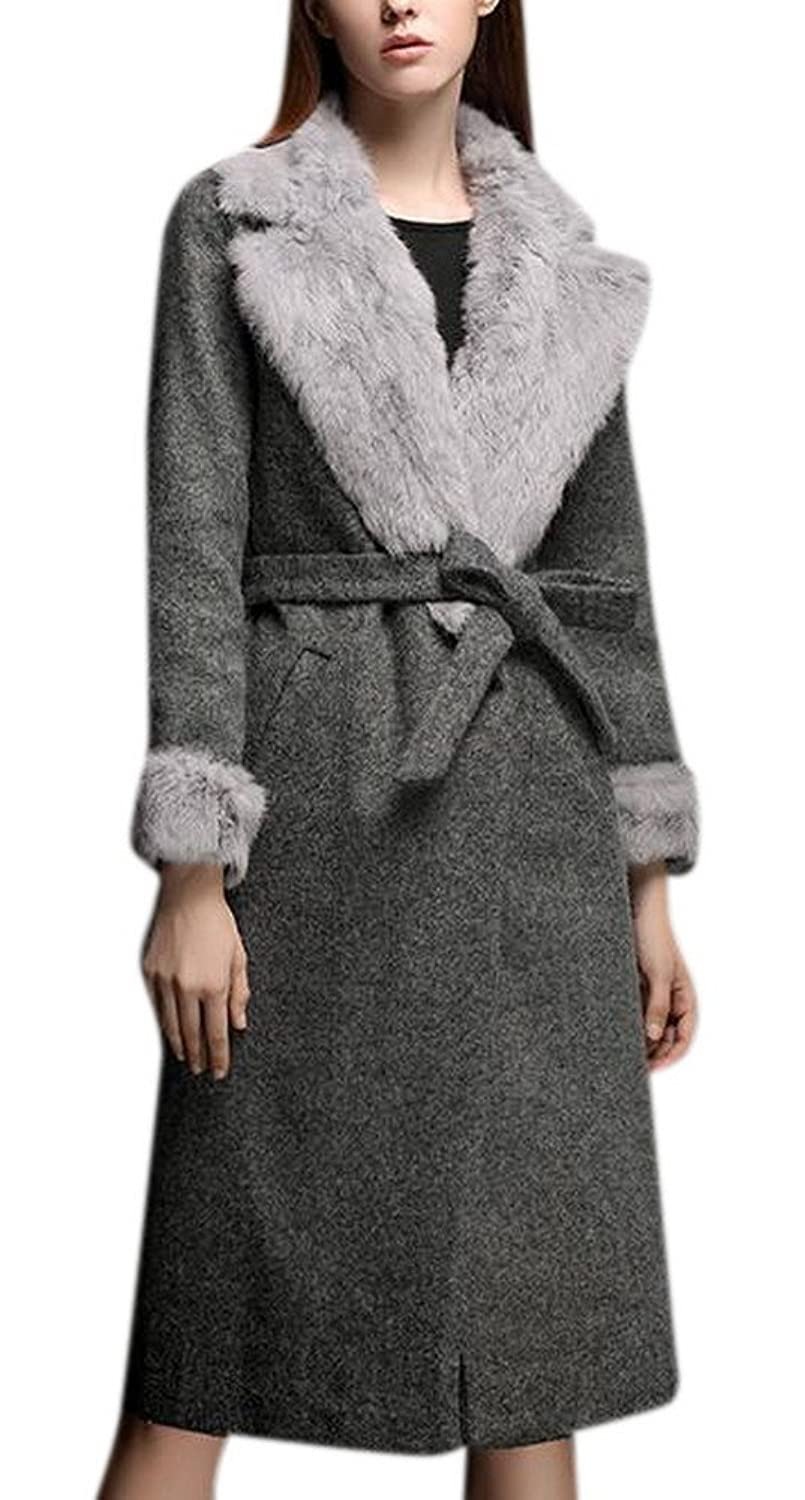 Women's Grey Faux Fur Lapel Wool Thicken Parka Long Maxi Jacket Coat with Belt