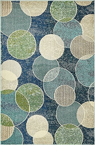 Island Collection Modern Contemporary Rugs Living Dinning Bedroom Area Rug 4' x 6', Navy (Mat Green Island Decor)