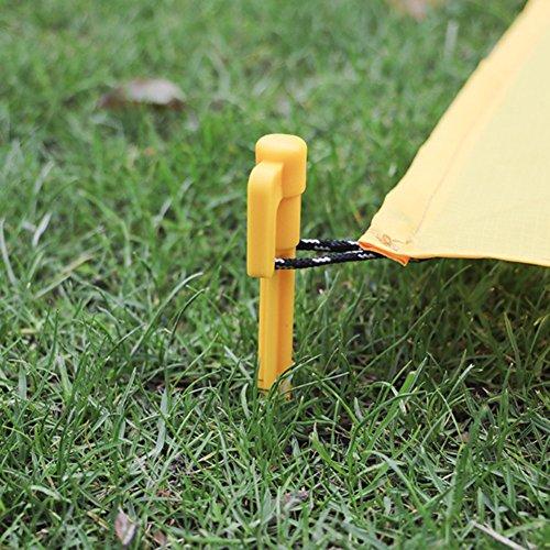 Hzjundasi 100pcs Jaune Plastique Camping Tarp Tente Clou Enjeux De plein air Pique-nique Tapis Tente Piquets