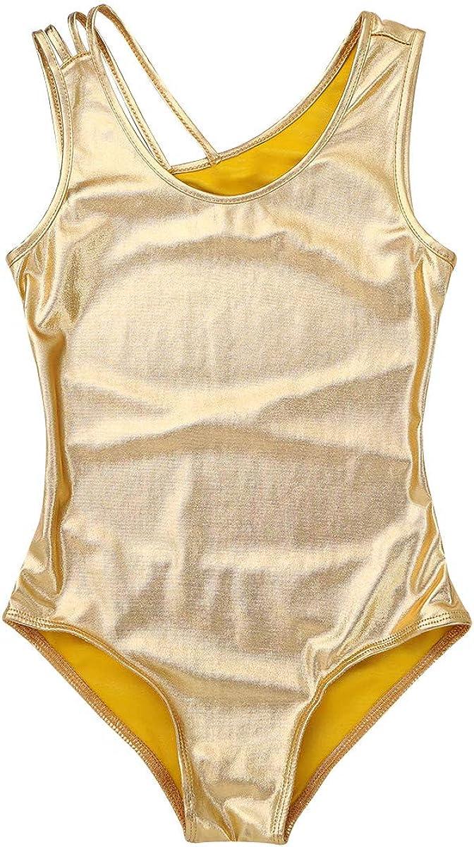 Size 12-14 Silver inlzdz Girls Metallic Criss Cross Backless One-Piece