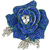 EVER FAITH Women's Austrian Crystal Blooming Beautiful Rose Flower Brooch Sapphire-Color Silver-Tone